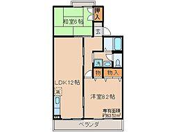 京都府宇治市菟道東中の賃貸アパートの間取り