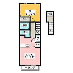 ヴローテA B[2階]の間取り