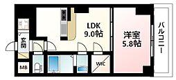 Osaka Metro御堂筋線 新大阪駅 徒歩3分の賃貸マンション 22階1LDKの間取り