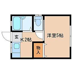 静岡県静岡市清水区草薙2丁目の賃貸アパートの間取り