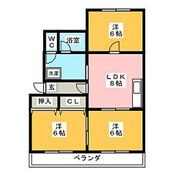 メゾン雁宿[1階]の間取り