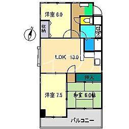 ハイツ塩屋崎[2階]の間取り