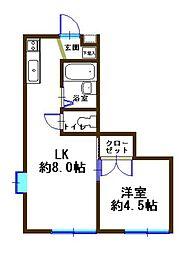 神奈川県横浜市南区大岡2丁目の賃貸アパートの間取り