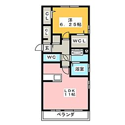 KASANCHI中泉 2階1LDKの間取り