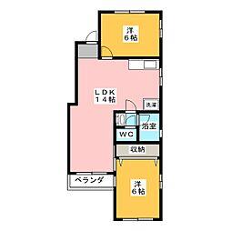 源氏ハイツ[3階]の間取り
