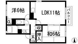 兵庫県宝塚市口谷東3丁目の賃貸アパートの間取り