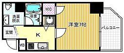 ファーストステージ京町堀レジデンス 6階1Kの間取り