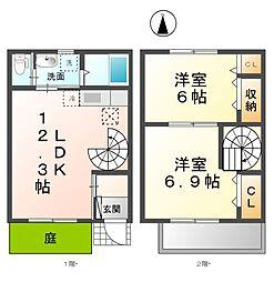 愛知県清須市鍋片2丁目の賃貸アパートの間取り