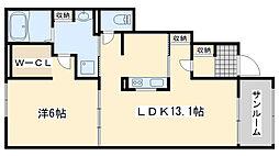 南海線 樽井駅 徒歩17分の賃貸アパート 1階1LDKの間取り