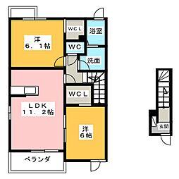ハートコート・西林田[2階]の間取り