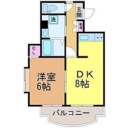 愛媛県松山市姫原2丁目の賃貸マンションの間取り