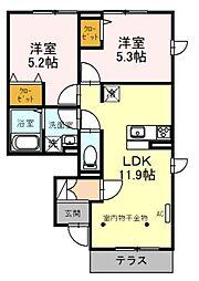 西武池袋線 入間市駅 徒歩20分の賃貸アパート 1階2LDKの間取り
