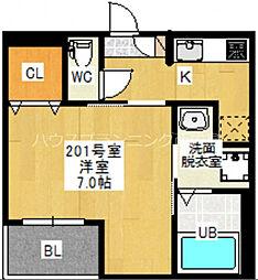広島電鉄宮島線 草津南駅 徒歩10分の賃貸アパート 1階1Kの間取り