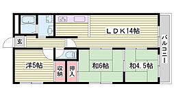 JR東海道・山陽本線 西明石駅 徒歩32分の賃貸マンション 3階3LDKの間取り