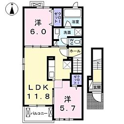 愛知県名古屋市西区城町の賃貸アパートの間取り