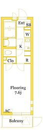 JR東海道本線 平塚駅 徒歩9分の賃貸マンション 2階1Kの間取り