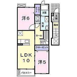 東京都武蔵村山市三ツ藤3丁目の賃貸アパートの間取り