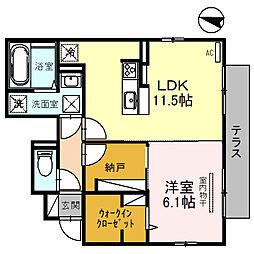 D-room大阪狭山市半田三丁目 1階1LDKの間取り