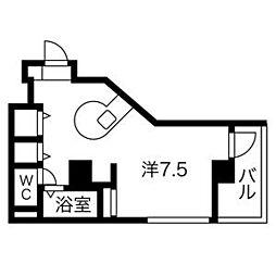 セラヴィ杁中 5階ワンルームの間取り