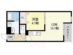 JR東海道・山陽本線 岸辺駅 徒歩8分の賃貸アパート 1階1LDKの間取り