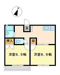 兵庫県神戸市北区山田町上谷上字中ノ手の賃貸アパートの間取り