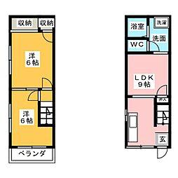 熊倉コーポ 2階2LDKの間取り