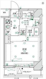 東京メトロ有楽町線 江戸川橋駅 徒歩8分の賃貸マンション 8階1Kの間取り