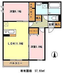 埼玉県川口市大字石神1661丁目の賃貸アパートの間取り