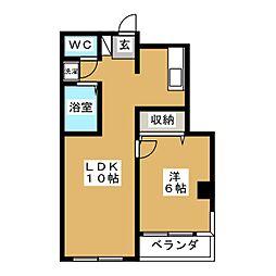 春日コートハウス 3階1LDKの間取り