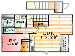 JR可部線 可部駅 徒歩3分の賃貸アパート 2階1LDKの間取り
