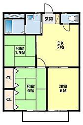 愛知県豊田市山之手9丁目の賃貸アパートの間取り