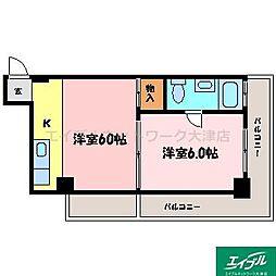 滋賀県大津市におの浜3丁目の賃貸マンションの間取り