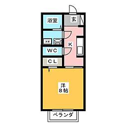 ソフィア平田II 1階1Kの間取り