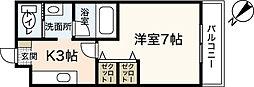 カーサ大塚2ND 3階1Kの間取り