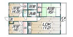 グリーンコート三輪[3階]の間取り