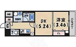 西宮北口プライマリーワンガーデンテラス 6階1DKの間取り