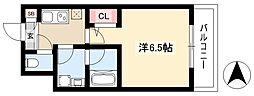 ディアレイシャス新栄 4階1Kの間取り