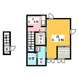 静岡県静岡市清水区高橋4丁目の賃貸アパートの間取り