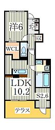D-roomTV大室1丁目B[1階]の間取り