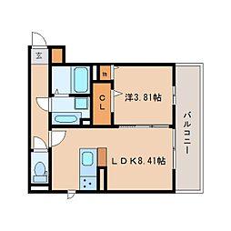 JR東海道本線 静岡駅 徒歩23分の賃貸アパート 2階1LDKの間取り