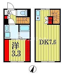 ラウレア西千葉 2階1DKの間取り