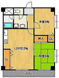 兵庫県神戸市北区鈴蘭台西町4丁目の賃貸マンションの間取り
