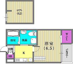 兵庫県神戸市長田区東尻池町4丁目の賃貸アパートの間取り