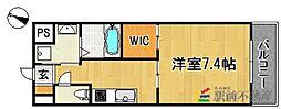 JR久大本線 久留米大学前駅 徒歩10分の賃貸マンション 7階1Kの間取り