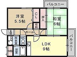 信栄ハウス柏木 4階2LDKの間取り