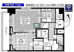 グランドコンシェルジュ六本木 19階1LDKの間取り