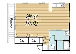 JR成田線 成田駅 徒歩12分の賃貸アパート 2階ワンルームの間取り