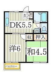 デンヒル白山A棟[2階]の間取り