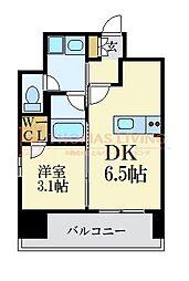 LANDIC 美野島3丁目 14階1DKの間取り