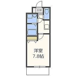 W.O.B.UMEDA 3階1Kの間取り